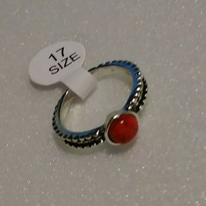 Tribal Silver Plated Red Sandstone Ring Sz 7